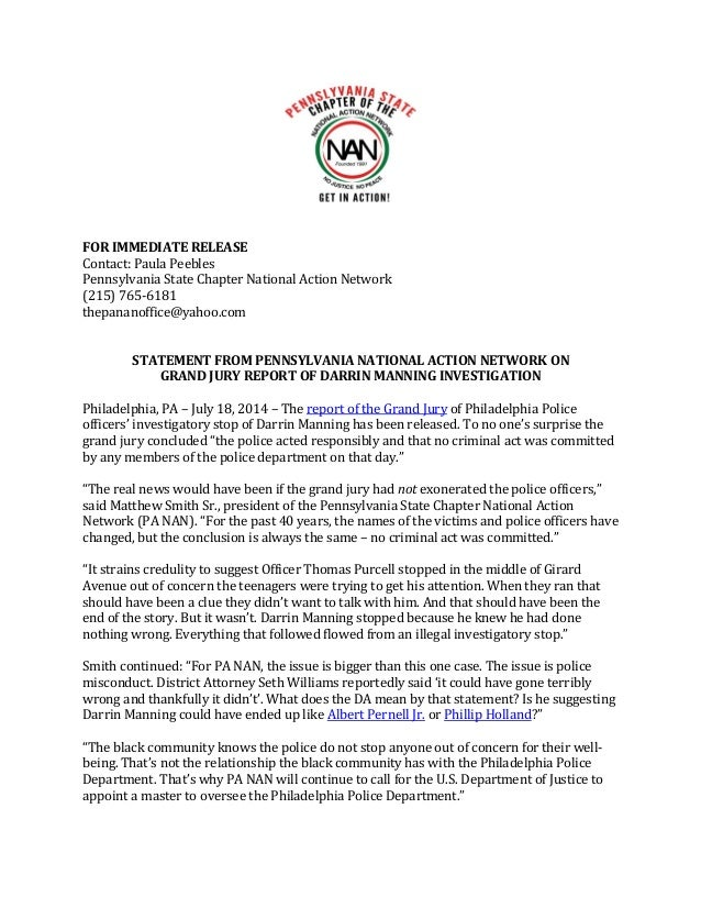 FOR IMMEDIATE RELEASE Contact: Paula Peebles Pennsylvania State Chapter National Action Network (215) 765-6181 thepananoff...
