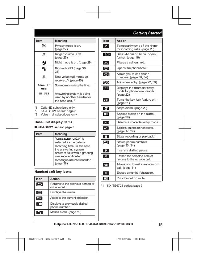 Panasonic KX-TG6711 Manual