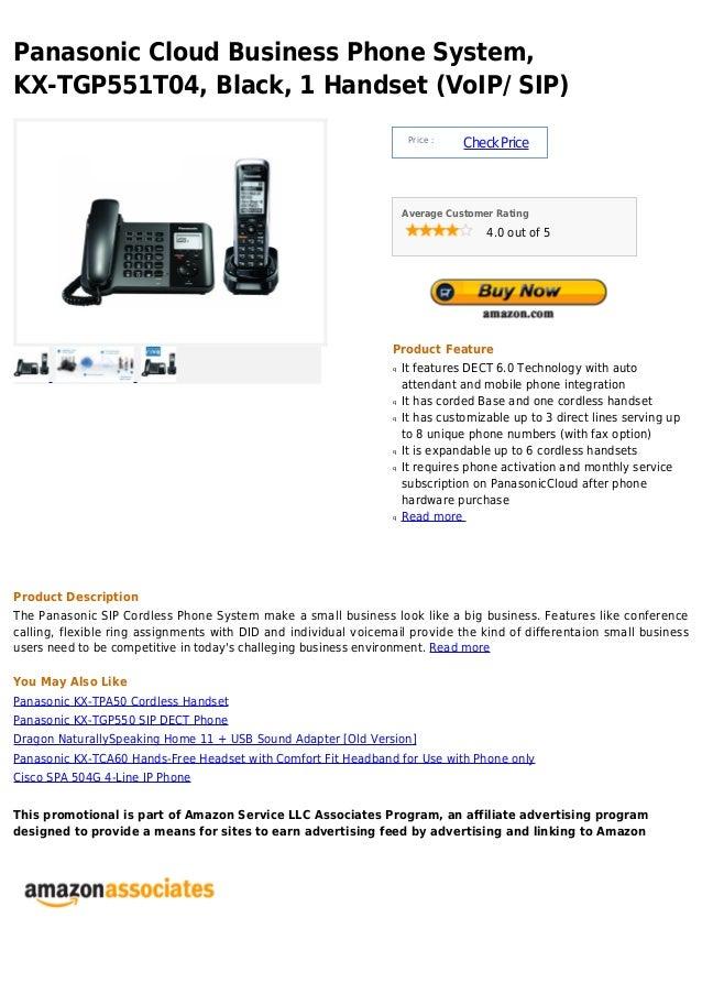 Panasonic cloud business phone system, kx tgp551 t04, black, 1 handset (voip  sip)