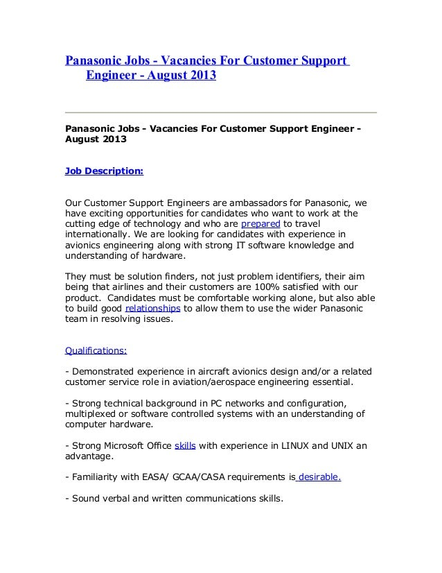 Panasonic Jobs - Vacancies For Customer Support Engineer - August 2013 Panasonic Jobs - Vacancies For Customer Support Eng...