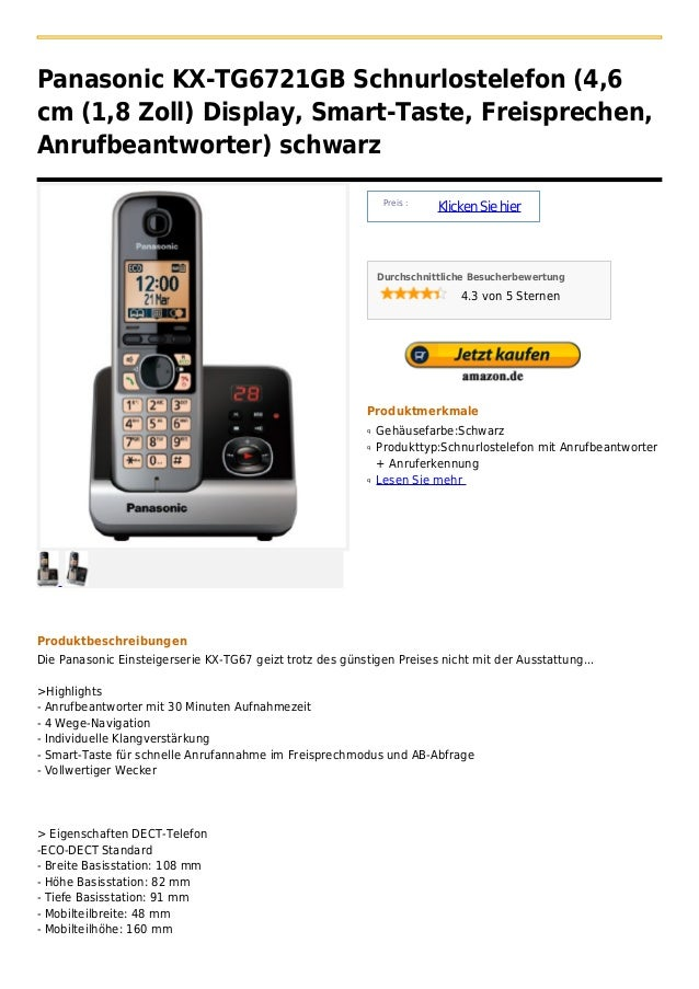 Panasonic KX-TG6721GB Schnurlostelefon (4,6cm (1,8 Zoll) Display, Smart-Taste, Freisprechen,Anrufbeantworter) schwarz     ...