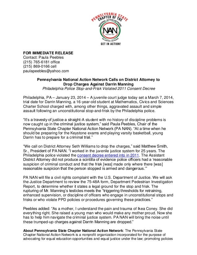 Pennsylvania National Action Network Calls on District Attorney to Drop Charges Against Darrin Manning