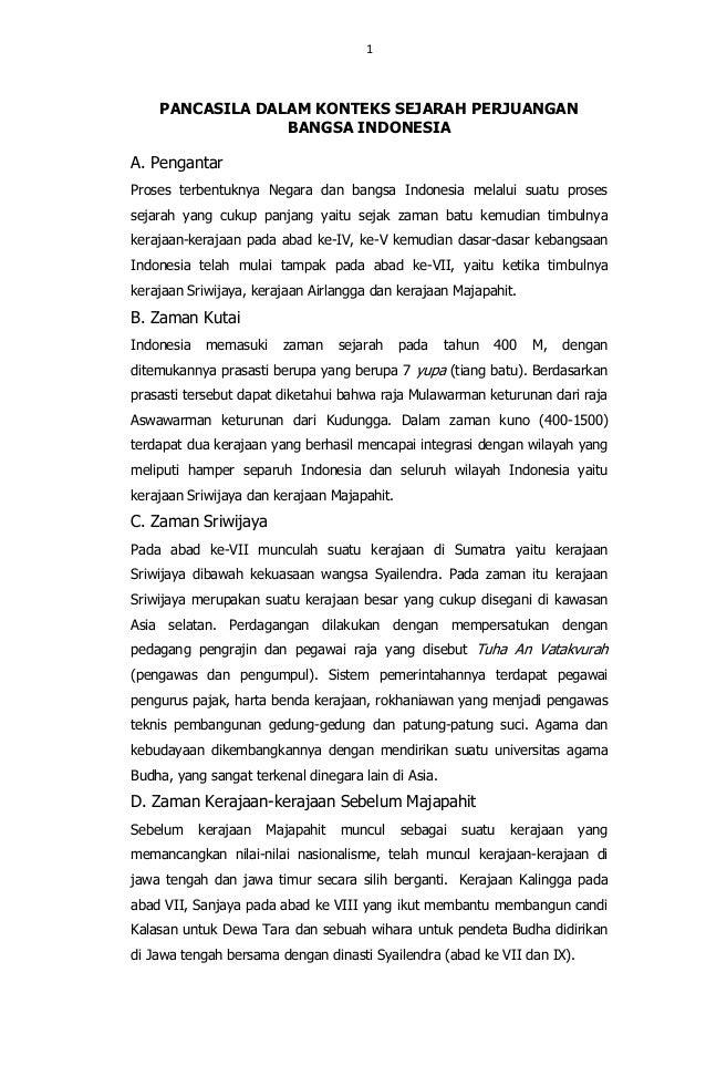 Pancasila dalam konteks sejarah perjuangan bangsa indonesia ade