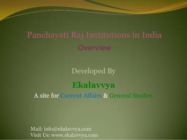 Panchayati Raj Institutions in India                  Overview                Developed By                Ekalavvya A site...