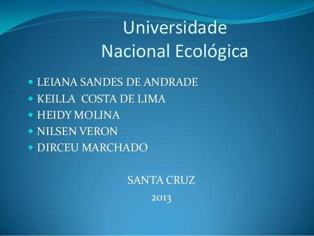 Universidade Nacional Ecológica  LEIANA SANDES DE ANDRADE  KEILLA COSTA DE LIMA  HEIDY MOLINA  NILSEN VERON  DIRCEU M...