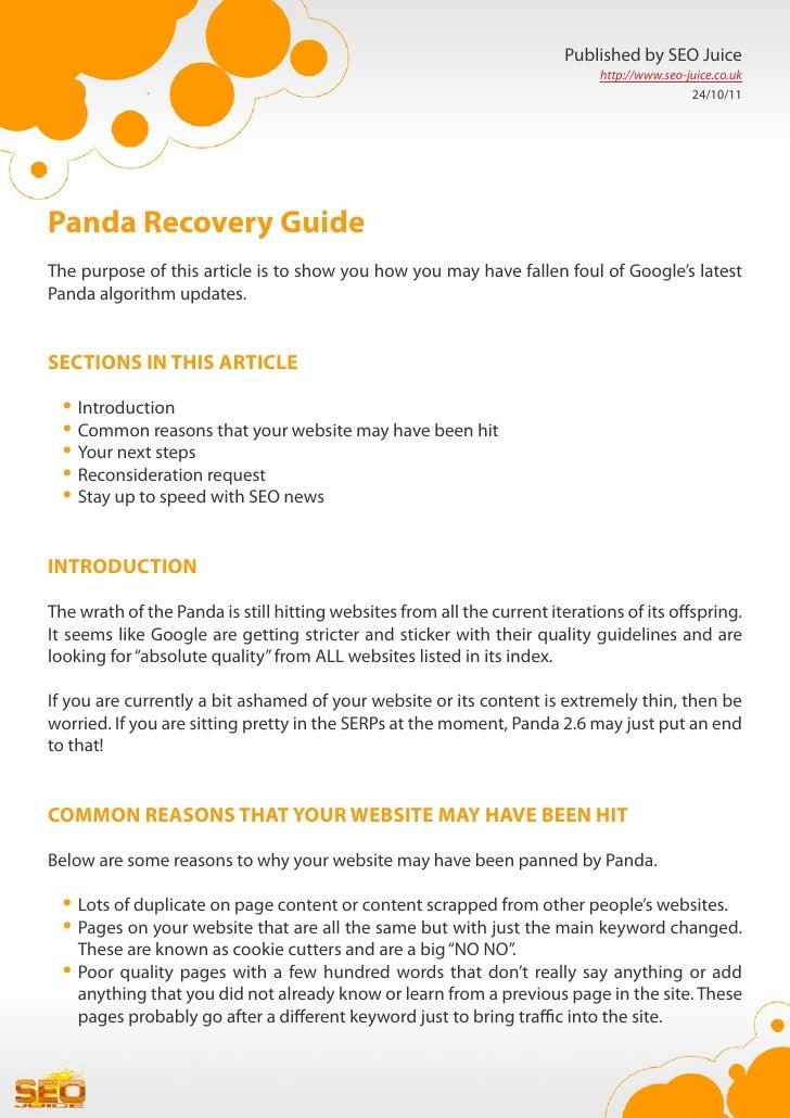 Panda recovery guide