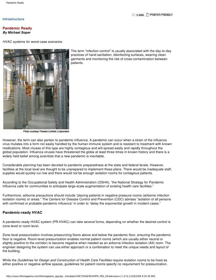 Pandemic Ready     Infrastructure  Pandemic Ready By Michael Soper  HVAC systems for worst-case scenarios                 ...