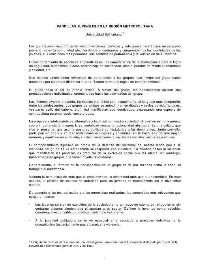 PANDILLAS JUVENILES EN LA REGIÓN METROPOLITANA                                                                     1      ...