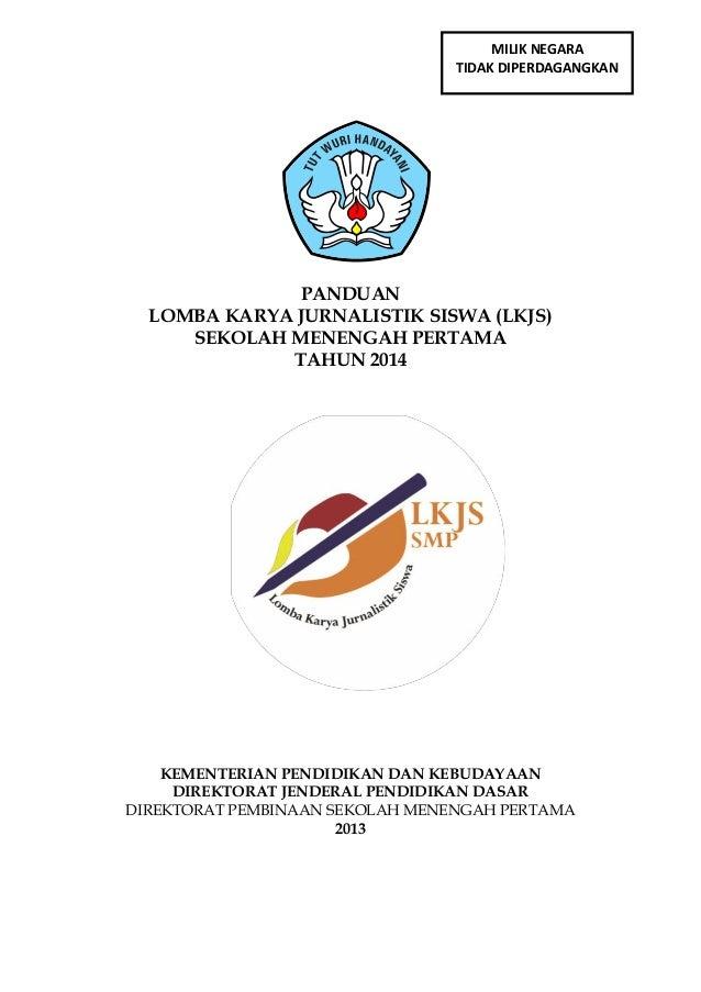 Panduan Lomba Karya Jurnalistik Siswa LKJS SMP Tahun 2014