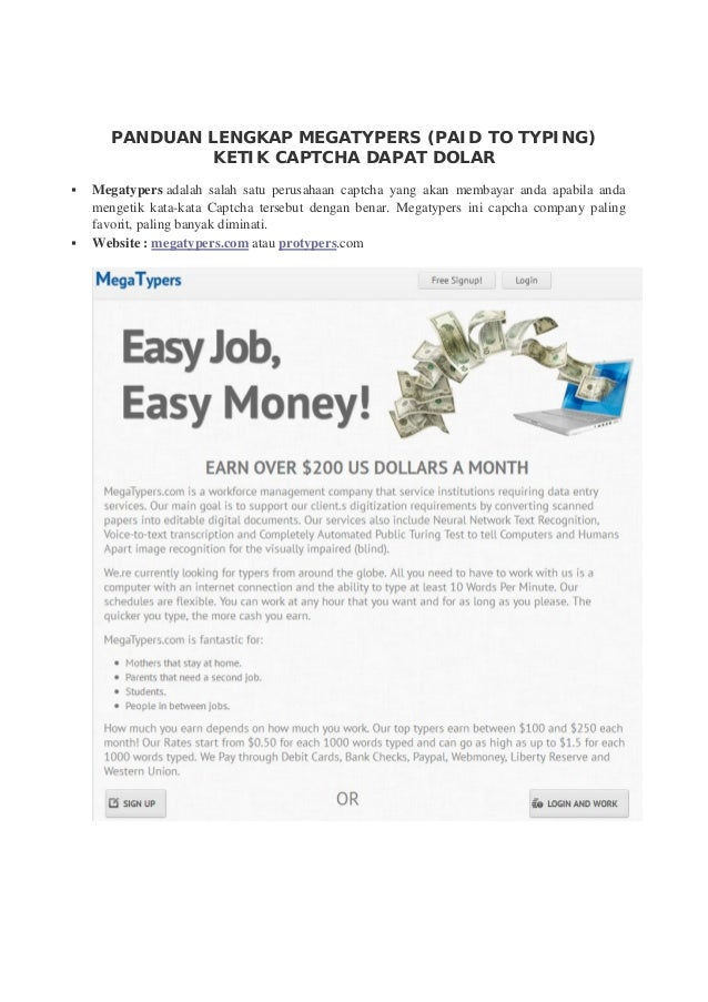 Panduan lengkap megatypers (paid to typing) ketik captcha dapat dolar