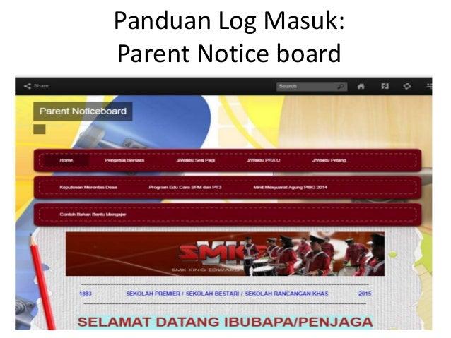 Panduan log masuk Parent Noticeboard Frog VLE