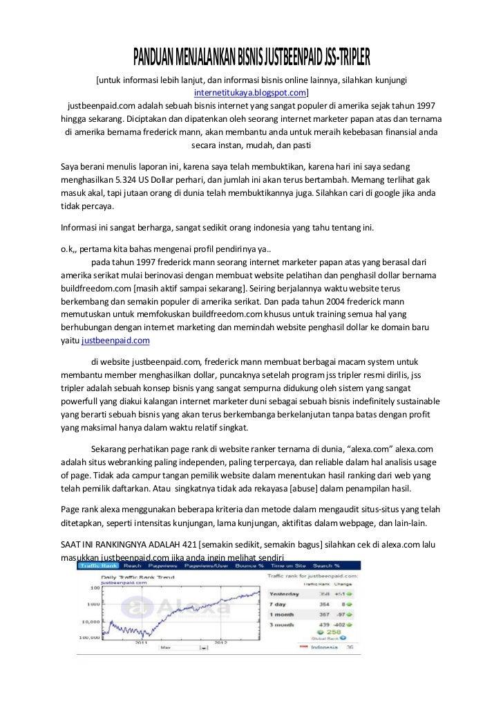 PANDUAN MENJALANKAN BISNIS JUSTBEENPAID JSS-TRIPLER         [untuk informasi lebih lanjut, dan informasi bisnis online lai...