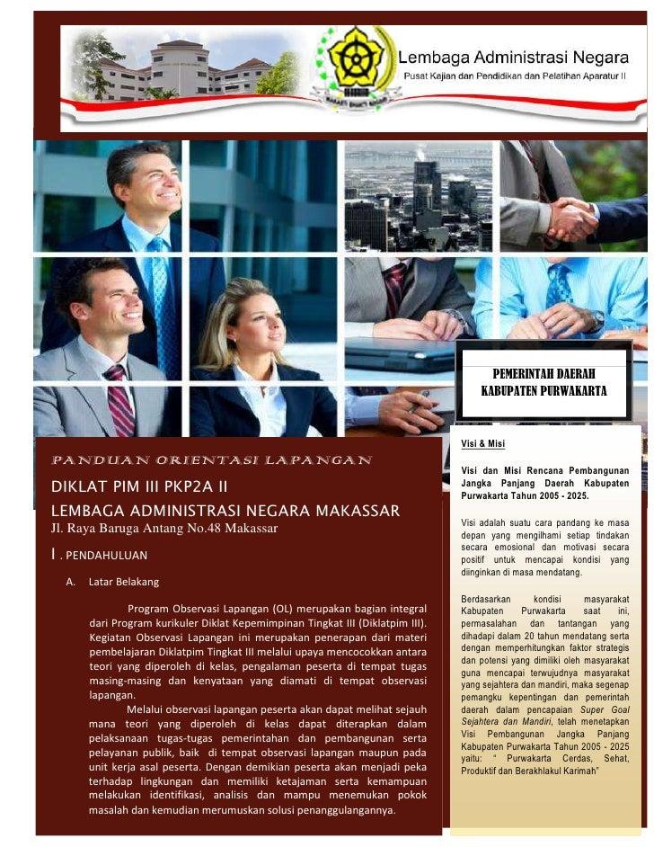 ORIENTASI LAPANGAN PIM III PKP2A II LAN Makassar (Muskamal.S.Sos, M.Si)