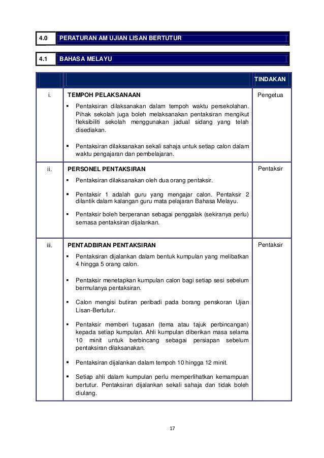 lisan bahasa melayu 1 panduan pentadbiran ujian lisan bertutur pentaksiran tingkatan 3 (pt3) lembaga peperiksaan kementerian pendidikan malaysia 2014 bahasa melayu bahasa inggeris 2.
