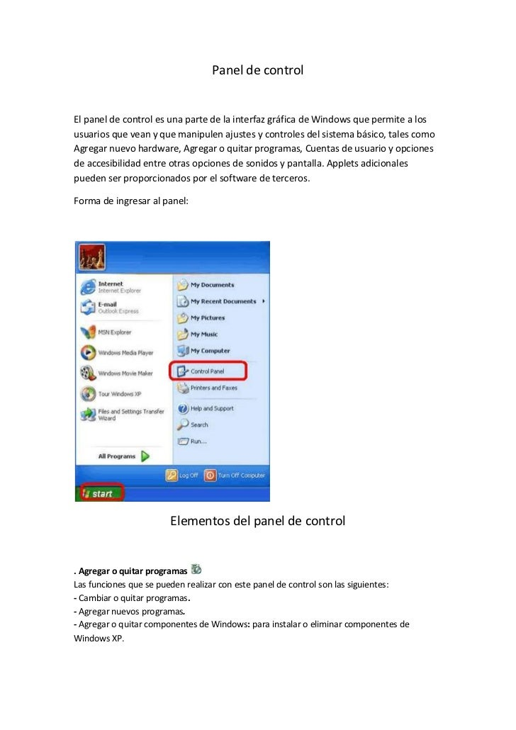 Panel de control<br />El panel de control es una parte de la interfaz gráfica de Windows que permite a los usuarios que ve...