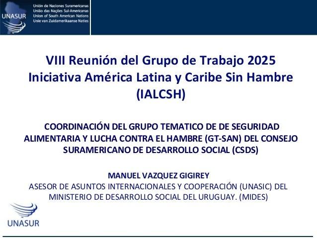 CAPACITACIÓN EN EL USO DE LA MATRIZ DE COOPERACIÓN HORIZONTAL DE UNASUR MANUEL VAZQUEZ GIGIREY ASESOR DE ASUNTOS INTERNACI...