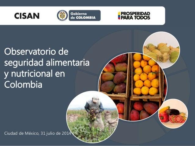 Ciudad de México, 31 julio de 2014 Observatorio de seguridad alimentaria y nutricional en Colombia