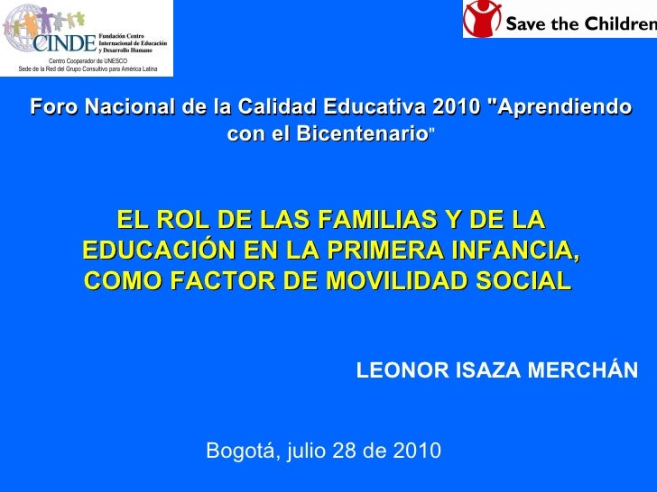 """Foro Nacional de la Calidad Educativa 2010 """"Aprendiendo con el Bicentenario """" EL ROL DE LAS FAMILIAS Y DE LA EDU..."""