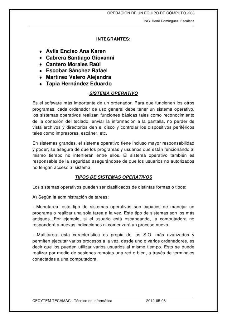 OPERACIÓN DE UN EQUIPO DE CÓMPUTO -203                                                        ING. René Domínguez Escalana...