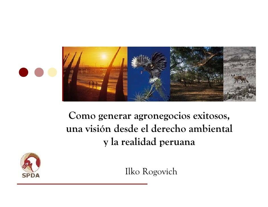Como generar agronegocios exitosos,una visión desde el derecho ambiental         y la realidad peruana             Ilko Ro...