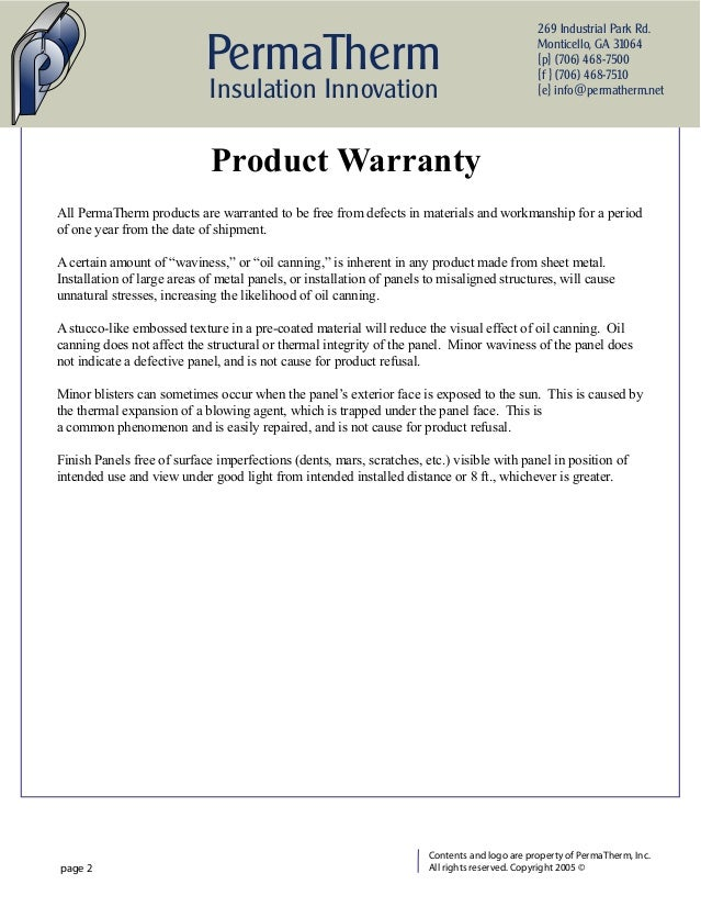 PermaTherm Insulated Metal Panel Warranty
