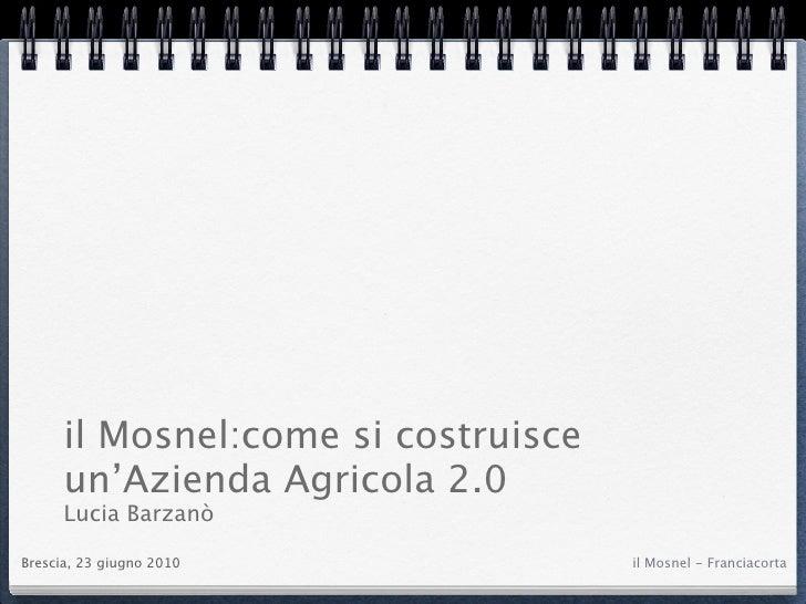 il Mosnel:come si costruisce       un'Azienda Agricola 2.0       Lucia Barzanò  Brescia, 23 giugno 2010              il Mo...