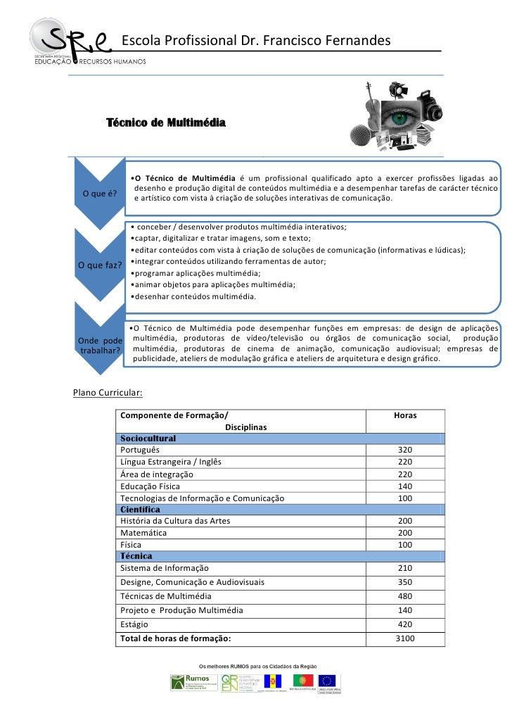 Panfleto do Curso Técnico de Multimédia