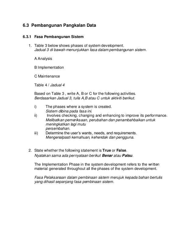 6.3 Pembangunan Pangkalan Data 6.3.1 Fasa Pembangunan Sistem 1. Table 3 below shows phases of system development. Jadual 3...