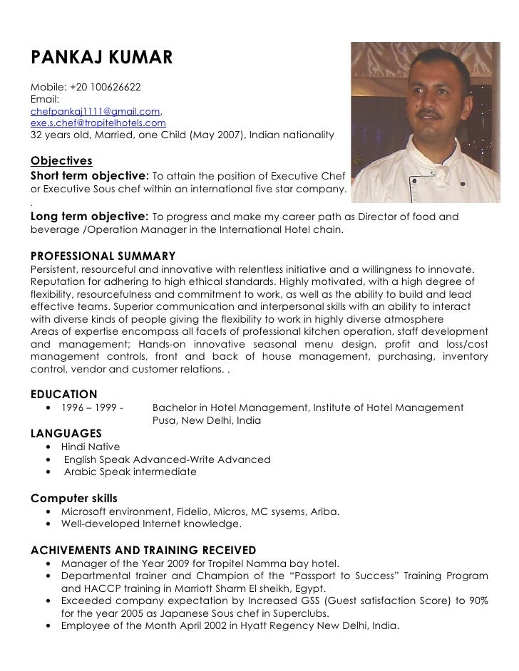 resume indian chef chef training certificate chef resume template - Chef Resume Example