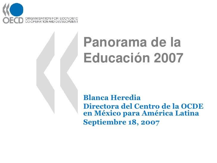 Panorama De La Educacion 2007