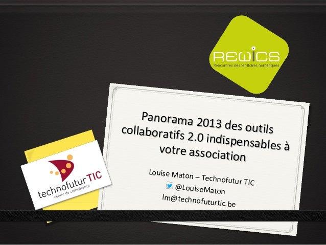 Panorama 2013 des outils collaboratifs 2.0 utiles à votre association