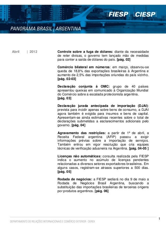 Panorama Brasil/Argentina - Abril/2012