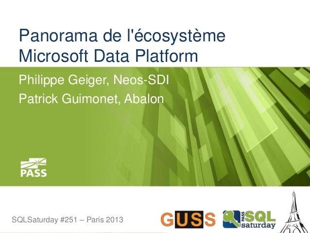 SQLSaturday #251 – Paris 2013SQLSaturday #251 – Paris 2013 Panorama de l'écosystème Microsoft Data Platform Philippe Geige...