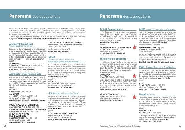 Panorama des associations Panorama des associations R : Réalisateur · P : Producteur · VI : Vendeur international · D : Di...