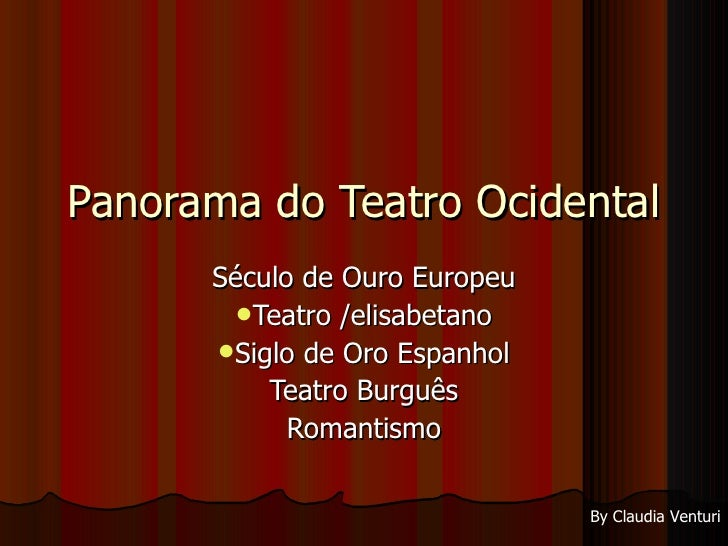 Panorama Do Teatro Ocidental Elisab Oro