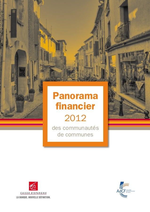 Panorama financier   2012des communautés  de communes