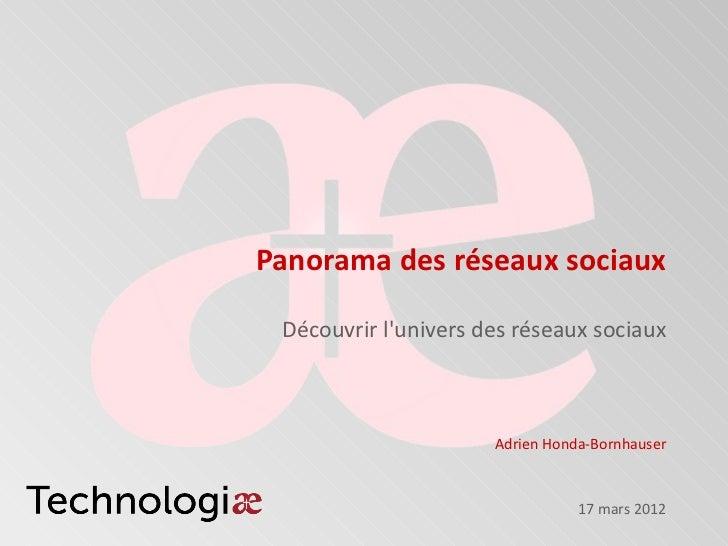 Panorama des réseaux sociaux Découvrir lunivers des réseaux sociaux                      Adrien Honda-Bornhauser          ...