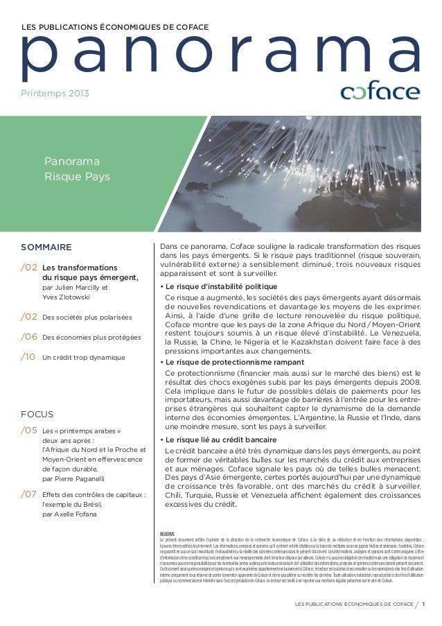 panoramaLES PUBLICATIONS ÉCONOMIQUES DE COFACEPrintemps 2013      Panorama      Risque PaysSOMMAIRE                       ...