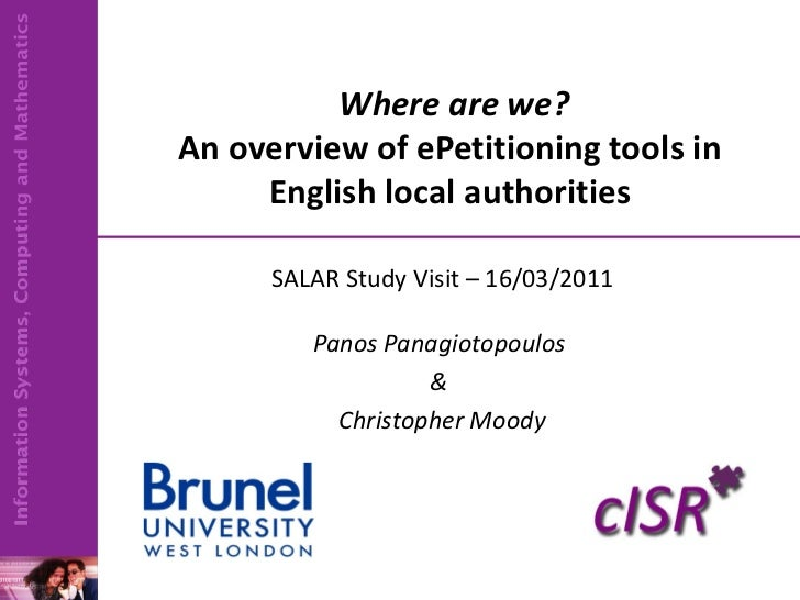 Where are we? An overview of ePetitioning tools in English local authorities SALAR Study Visit – 16/03/2011 Panos Panagi...