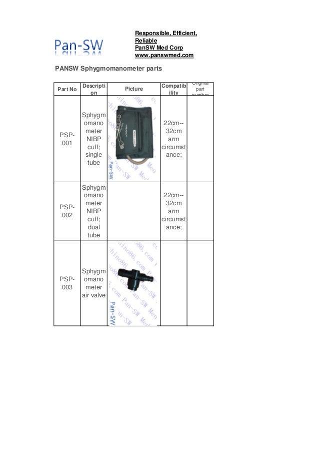 PANSW Sphygmomanometer parts Part No Descripti on Compatib ility Original part number PSP- 001 Sphygm omano meter NIBP cuf...