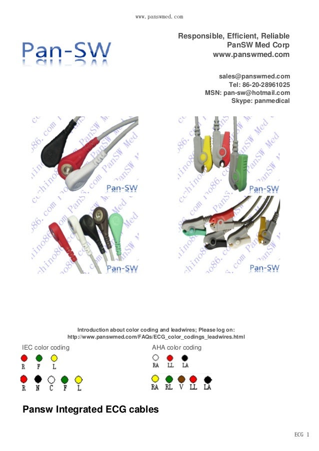 www.panswmed.com ECG 1 IEC color coding AHA color coding Responsible, Efficient, Reliable PanSW Med Corp www.panswmed.com ...