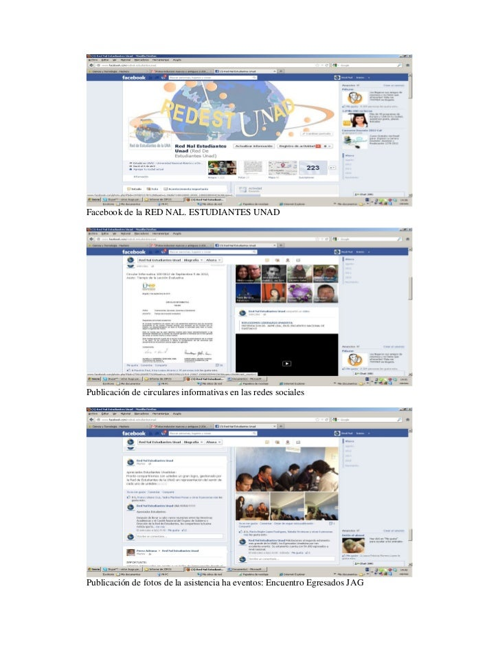 Facebook de la RED NAL. ESTUDIANTES UNADPublicación de circulares informativas en las redes socialesPublicación de fotos d...