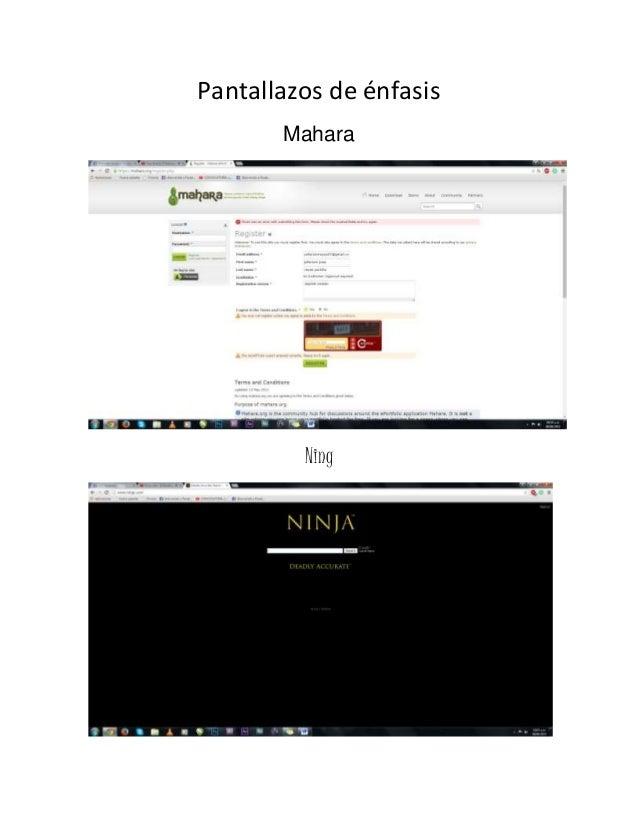 Pantallazos de énfasis Mahara Ning