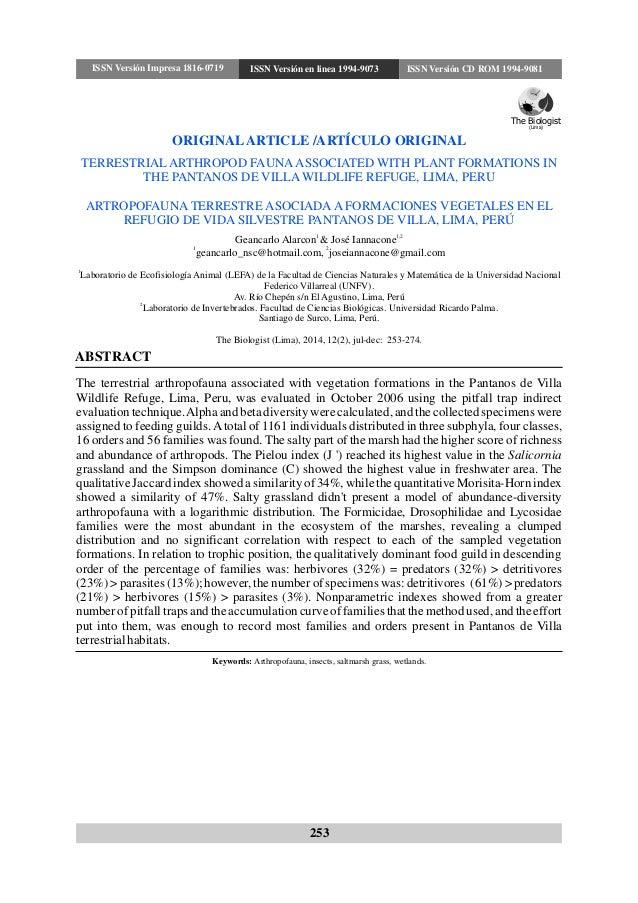 ABSTRACT Keywords: Arthropofauna, insects, saltmarsh grass, wetlands. ORIGINALARTICLE /ARTÍCULO ORIGINAL TERRESTRIAL ARTHR...