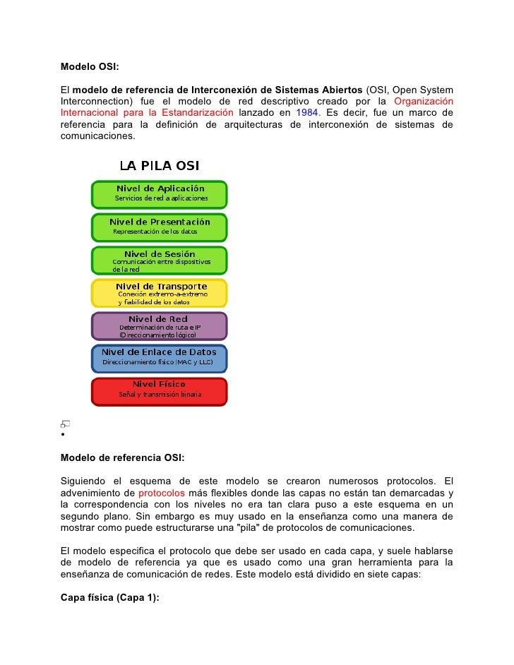 Modelo OSI:  El modelo de referencia de Interconexión de Sistemas Abiertos (OSI, Open System Interconnection) fue el model...