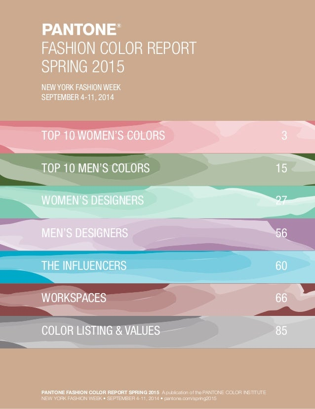 Colors Pantone Pantone Fashion Color Report