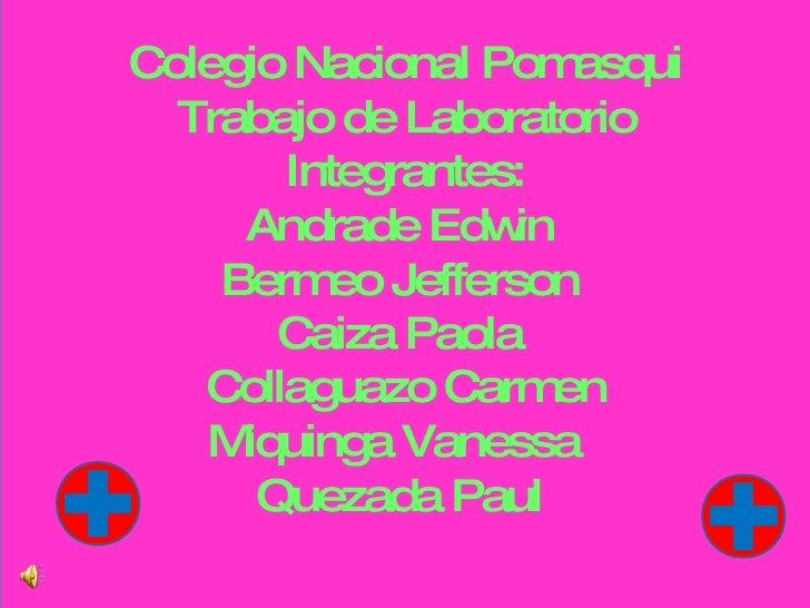 Colegio Nacional Pomasqui Trabajo de Laboratorio Integrantes: Andrade Edwin  Bermeo Jefferson  Caiza Paola  Collaguazo Car...