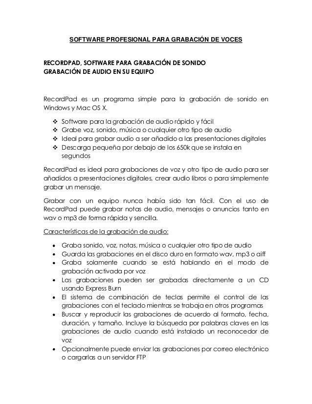 SOFTWARE PROFESIONAL PARA GRABACIÓN DE VOCESRECORDPAD, SOFTWARE PARA GRABACIÓN DE SONIDOGRABACIÓN DE AUDIO EN SU EQUIPORec...