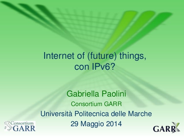 Internet of (future) things, con IPv6?