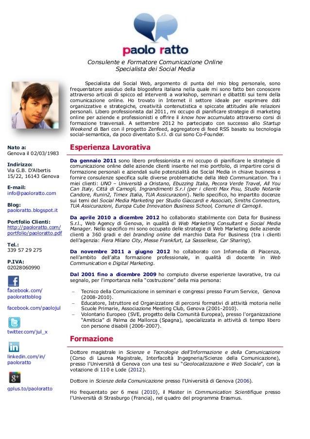 CV - Paolo Ratto - Consulente e Formatore Comunicazione Online